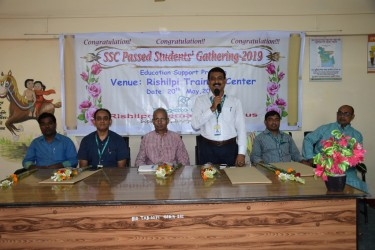 Chief Guest Professor Mr. Amanullah Hadi   ( Vice Principal of Satkhira Government College is speaking in SSC Passed Students Gathering 2019